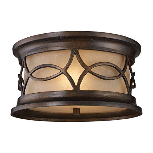 Alumbrada Collection Burlington Gate 2 Light Outdoor Flushmount In Hazelnut Bronze