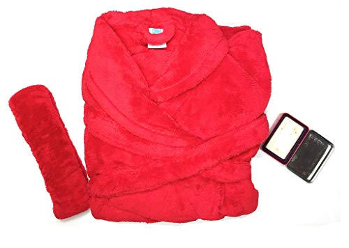Martha Stewart Gift Boxed Plush Bath Robe with Hand-Milled Luxury Scented Soap in a Decorative Turkish Tin (Red)
