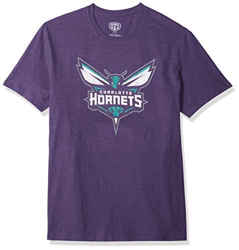 NBA Charlotte Hornets Male OTS Slub Distressed Tee, Purple, X-Large