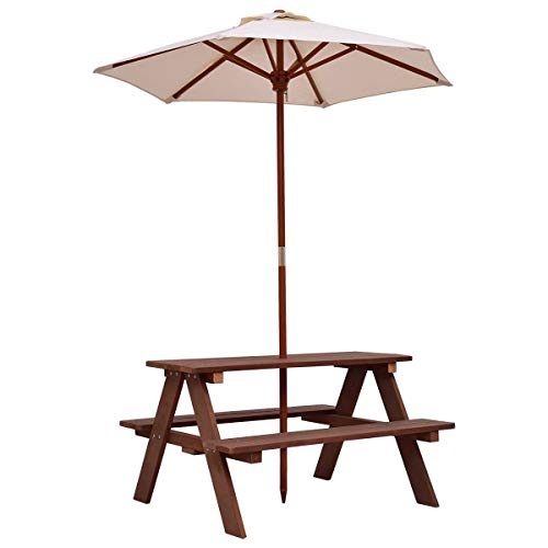 Lucky-gift - Outdoor 4-Seat Kid's Picnic Table Bench with Umbrella - Picnic Table Bench Umbrella Kids Outdoor Folding Seat and 4 Portable - Set Garden Children Kid S Patio Play Toddler Plastic (Plastic Furniture Garden Painting Coated)
