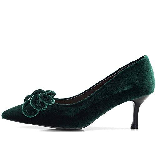 Nine Seven Moda Terciopelo Puntiagudos Zapatos de Tacón de Aguja con Lazo para Mujer verde oscuro
