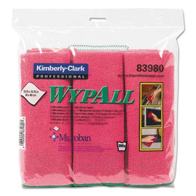 WypAll 83980 Microfiber Cloths, Reusable, 15 3/4 x 15 3/4, Red, 6 per Pack (Case of 4 Packs)
