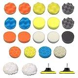 31 Pcs Car Foam Drill Polishing Pad Kit 3 Inch Buffing Pads, 3 Styles