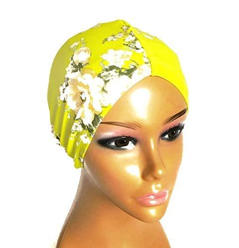 Amazon.com: White Yellow Satin Lined- No Slip Turban Hijab. No Tie Req. Last Minute Christmas Gifts.: Handmade