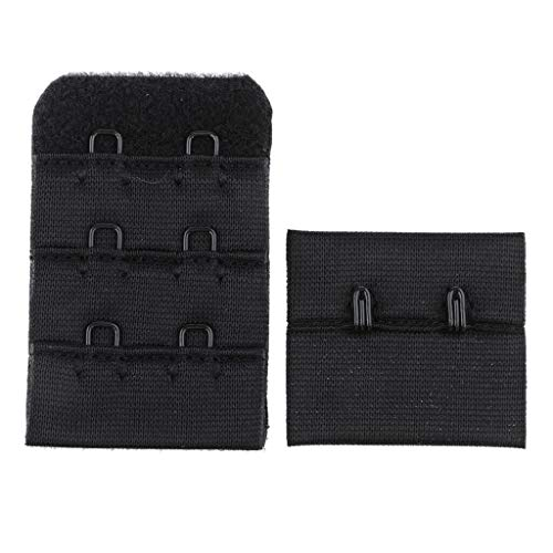 1pc Bra Strap Extender Lingerie Extension 3 Hooks 2Row Eye Adjustable Buckle | Color - Black ()