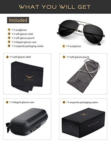 55bad4b562 LUENX Aviator Sunglasses Polarized Men Women with Accessories Metal Frame  UV 400 60MM (18-