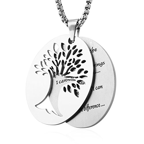 (HZMAN Two Piece Serenity Prayer Stainless Steel Pendant Necklace with Tree of Life Cut Out (Silver))