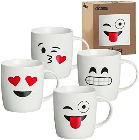 dcasa - Tazas original diseño EMOTICONOS romanticas Pack de 4 mug ...