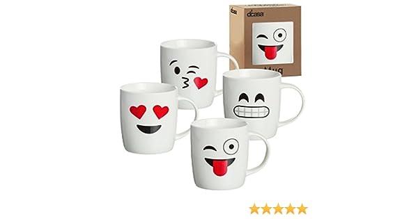 dcasa - Tazas original diseño EMOTICONOS romanticas Pack de 4 mug: Amazon.es: Hogar