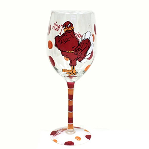 - Jenkins Enterprises Virginia Tech Hokies Maroon and Orange Hand Painted Wine Glass