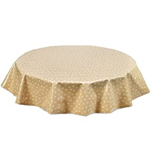 Round Freckled Sage Oilcloth Tablecloth In Dot White On Tan   You Pick The  Size!