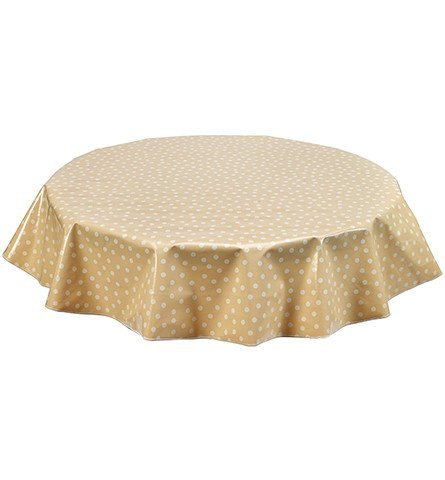 (Round Freckled Sage Oilcloth Tablecloth in Dot White on Tan - You Pick the Size!)