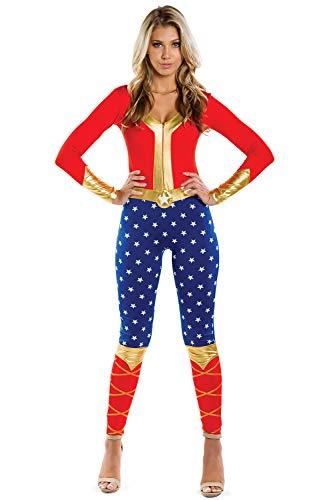Tipsy Elves Women's Patriotic Super Hero Halloween Costume Bodysuit - USA Bodysuit Costume Blue