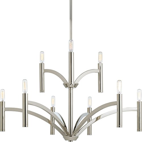 Progress Lighting P4719-104 9-60W Cand Chandelier, 32 x 32 x 21.75 , Polished Nickel