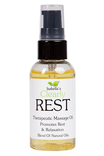 Isabella Cream - Isabella's Clearly REST, Aromatherapy Massage Oil, Relaxation, Stress Relief, Sleep Aid. Therapeutic Oils, Avocado, Grapeseed, Jojoba, Yarrow, Chamomile & Tangerine. Premium Skin Therapy. 2Oz