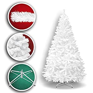 New 7' White Classic Pine Christmas Tree Artificial Realistic Natural Branches-Unlit 210CM 1000 Tips with Metal Stand 101