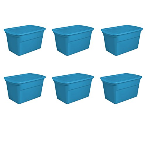 Sterilite 17364306 30 Gallon/114 Liter Tote, Blue Aquarium, 6-Pack