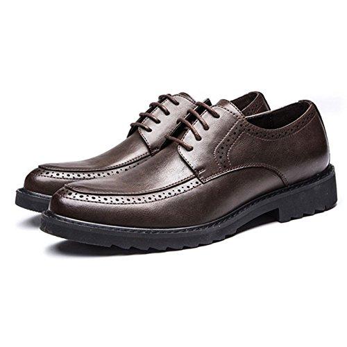 On A in Business Scarpe da in Men Uomo Brogues Pelle Oxblood for Casual Slip Brown Punta Vernice Pelle Affari I4qqw8R