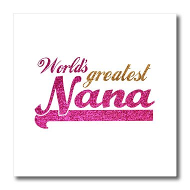 (3dRose ht_151312_3 Worlds Greatest Nana Pink and Gold Text Gifts for Grandmothers Iron on Heat Transfer, 10 by 10-Inch, for White Material)