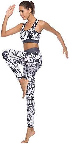 レディースジャージ上下セット ヨガスポーツスーツ婦人服3Dグラフィティ白黒ストーンプリントベストズボン (サイズ : L)