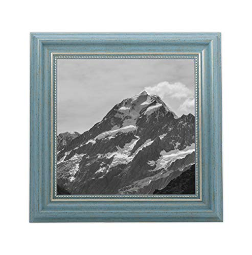 Eco Wedding Decor - EcoHome 8x8 Picture Frame Teal - Gold Matted for 4x4 Pictures & 8x8 Pictures Without mat - Hanging Kit Included