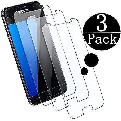 ZZXLJ [3 Stück] Galaxy S7 Schutzfolie Panzerglas Display, 9H Härte,HD Anti-Öl,Kratzer, Blasen und Fingerabdruck,Einfaches Anb