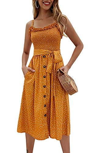 (PRETTYGARDEN Women's Summer Sunflower Boho Spaghetti Strap Semi-Backless Button Down A-Line Midi Dress with Belt and Pockets (014-Yellow, Large))