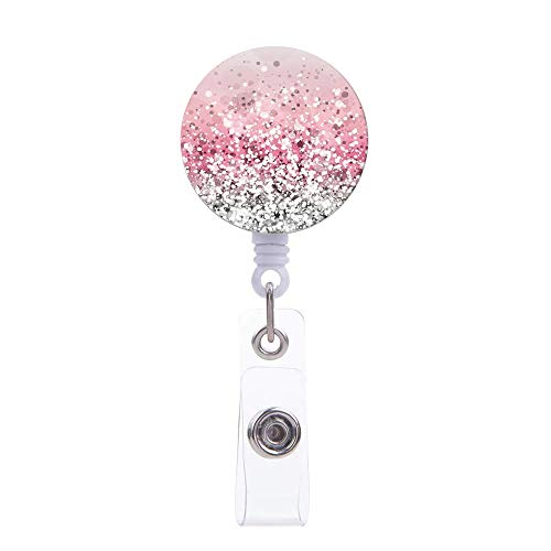 - Badge Reel,Glitter Pink Pattern Retractable ID Card Badge Holder with Alligator Clip, Name Decorative Badge Reel Clip on Card Holders for Cute Girls,Women, Nurse, Teacher, Student, Volunteer