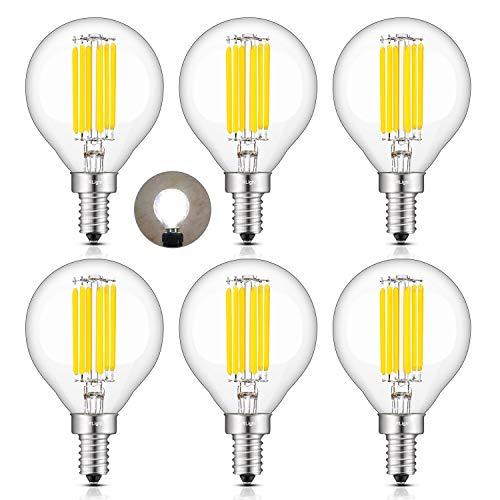 CRLight 6W 4000K LED Candelabra Bulb Daylight White, 70W Equivalent 700LM Dimmable E12 Base Antique G16(G50) Edison LED Globe Bulb, Chandelier Ceiling Fan Bathroom Vanity Mirror Light Bulbs, 6 Pack