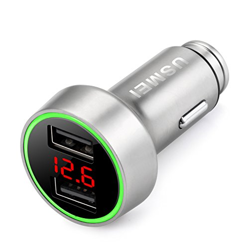 Safe Smart Quick Car Charger,5V/3.6A Dual USB Port Car Charger Adapter with LED/ LCD Display Battery Low Voltage Warning Volt Meter Car Battery Monitor - Battery Voltage Constant Charger