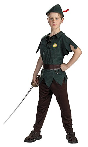 UHC Boy's Peter Pan Funny Theme Party Fancy Dress Child Halloween Costume, Child S (4-6)