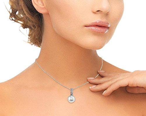 14K Or Blanc Diamant et Perle de Culture Akoya Belinda Pendentif