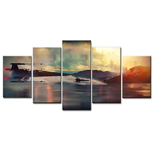 (Modern Art Printed in Star Wars Movie Poster 5 panel canvas art wall frame paintings living room40x50x2+40x70x2+40x100x1= (CM)^^^With Framework )