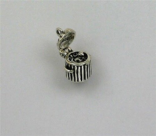 (Sterling Silver 3-D Movable Cat in a Trash Can Charm Jewelry Making Supply, Pendant, Charms, Bracelet, DIY Crafting by Wholesale)