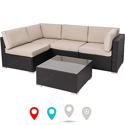 Walsunny New 5 pecs Sectional Sofa- Patio Wicker Furniture Set (Khaki)
