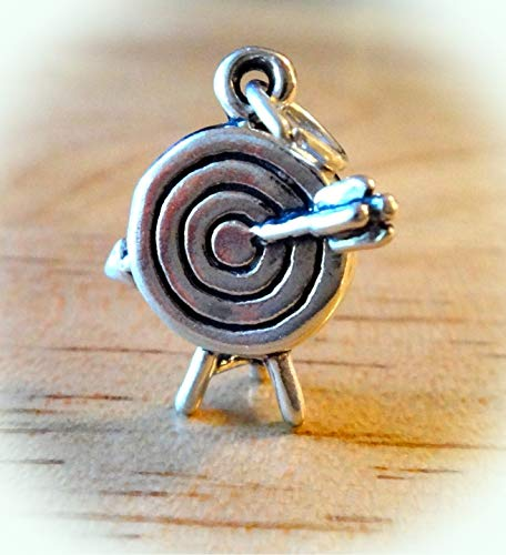 (Sterling Silver 3D 19x18mm Archery Target with Bullseye Arrow Charm Vintage Crafting Pendant Jewelry Making Supplies - DIY for Necklace Bracelet Accessories by CharmingSS)