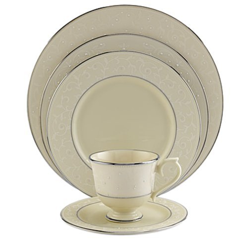 Pearl Lenox Dinnerware Innocence (Lenox Pearl Innocence Platinum-Banded Fine China 5-Piece Place Setting, Service for 1)