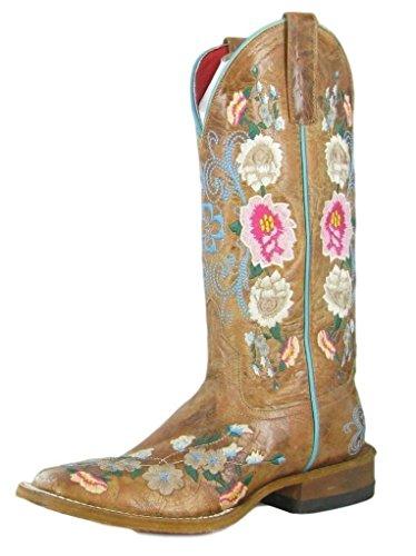 Macie Bean Western Boots Womens Rose Garden Floral 6 B Honey