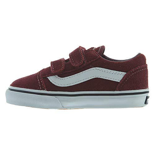 Vans Old Skool V Suede, Unisex Babies Trainers, Red (Suede/Port Royale/Black), 9 (26 EU)