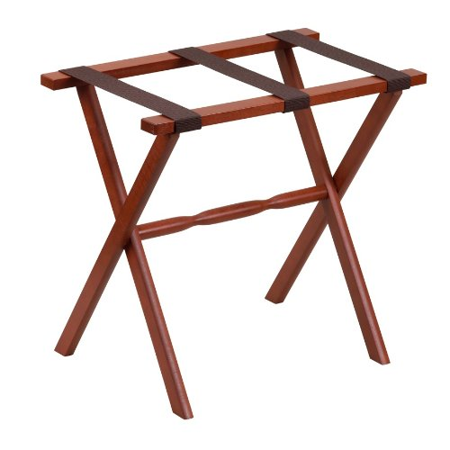 Gate House Furniture Item 1002 Mahogany Straight Leg Luggage Rack with 3 Brown Nylon Straps 23 by 13 by 20-Inch