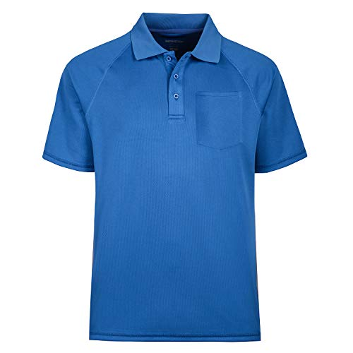 TIHEEN Men's Moisture Wicking Short Sleeves Polo Shirt with Pocket (Blue 3XL)