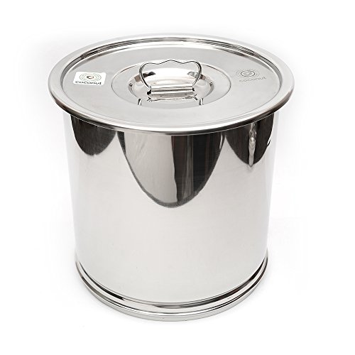 Coconut Stainless Steel Drum/Grain Storage Container with Lid – Dimension – 29.5Cms – Capacity – 10 Kgs Price & Reviews