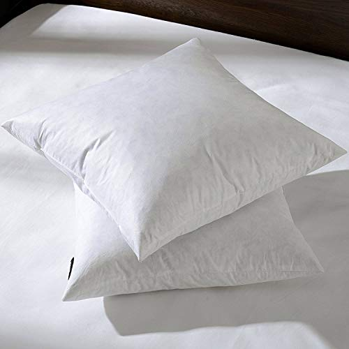 26x26 Euro Throw Pillow Inserts-Down Feather Pillow Inserts-Cotton Fabric-Set of 2-White.
