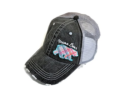 Spirit Caps Embroidered Pastel Plaid Mama Bear Distressed Look Grey Trucker Cap Hat