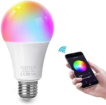 AISIRER Bombilla Inteligente Bombilla WiFi LED RGBW Multicolor Smart Bulb Compatible con Amazon Alexa Echo Google home E27 7W No se requiere hub ...