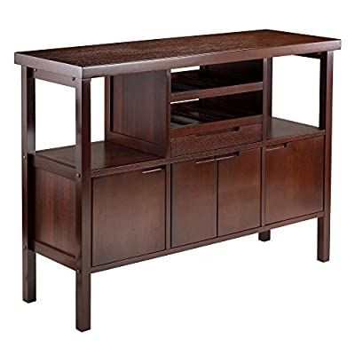 """Winsome 94746 Diego Dining, Brown - Buffet table size is 46""""w x 16""""d x 34""""h. Two open shelves size is 12""""w x 14""""d x 12"""" clearance Two side cabinet inside is 12""""w x 13""""d x 11.61""""h; Middle cabinet is 16.54""""w X 13""""d x 11.61""""h Drawer inside is 16.37""""w X 11""""d x 2.3""""h; Solid/Composite wood in walnut finish; assembly required - sideboards-buffets, kitchen-dining-room-furniture, kitchen-dining-room - 41AF7b0GrvL. SS400  -"""
