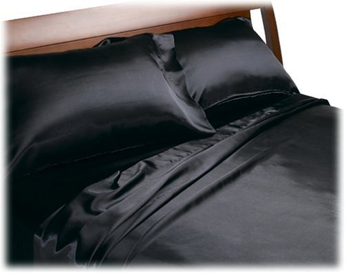 Price comparison product image Divatex Home Fashions Royal Opulence Satin Queen Sheet Set, Black