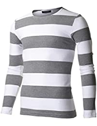 FLATSEVEN Men's Slim Fit Striped Long Sleeve T-shirt
