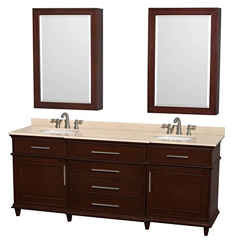 Berkeley Bathroom Vanity - Wyndham Collection Berkeley 80 inch Double Bathroom Vanity in Dark Chestnut