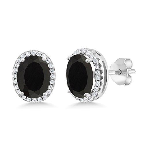 (Gem Stone King 4.48 Ct Oval Black Onyx 925 Sterling Silver Earrings )
